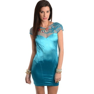 Feellib Woman Slim Fit Teal Embroidered Mini Dress