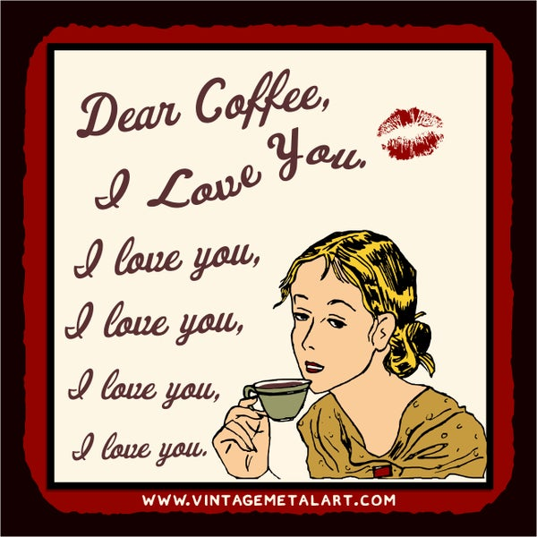 R. Lawrence 'Dear Coffee I Love You' Mini Vintage Tin Sign 12613004