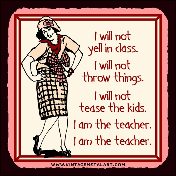 R. Lawrence 'I Am the Teache' Mini Vintage Tin Sign