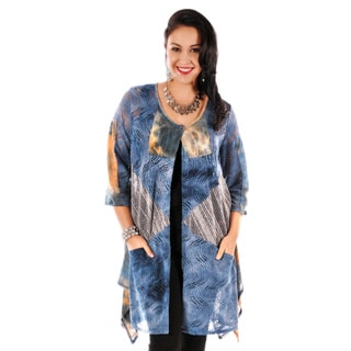 Women's Plus Size Blue Multi-print Patchwork Draped Cardigan
