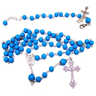 Handmade Turquoise Blue Glass Bead Rosary and Bracelet Set