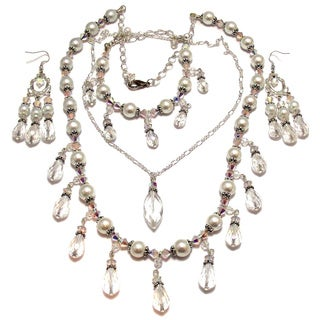 Clear Crystal and White Glass Pearl 4-piece Wedding Jewelry Set