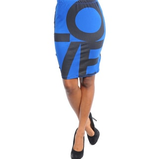 Feellib Women's Royal Blue 'Love' Print Pencil Skirt