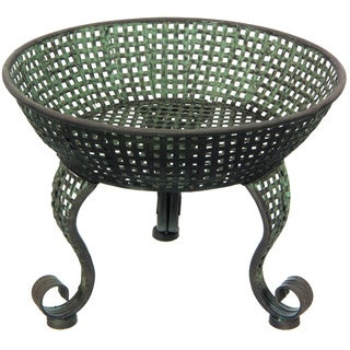Handmade Green Perforated Iron Bowl Display Stand (China)