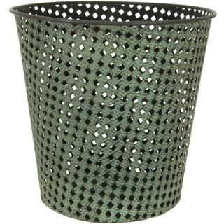 Handmade Green Wrought Iron Perforated Round Waste Basket (China)