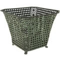 Handmade Green Wrought Iron Perforated Square Waste Basket (China)