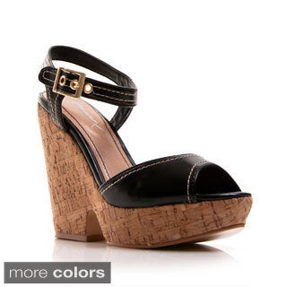 Gomax Women's 'Hey There-03' Wide Band Chunky Cork Wedges