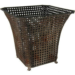 Handmade Brown Wrought Iron Fluted Square Waste Basket (China)