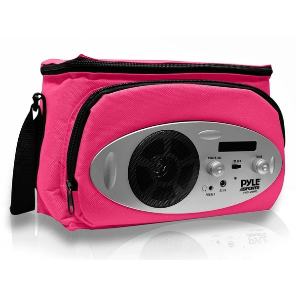 PyleSports Pink Cooler Bag with Built in AM/FM Radio, Headphone Output and AUX IN for MP3 Players