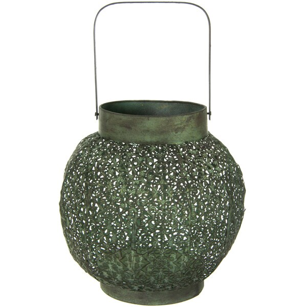 Handmade Green Patina Wrought Iron Lantern (China)
