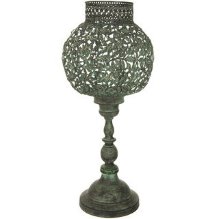 Handmade Green Patina Decorative Candle Holder (China)