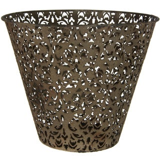 Handmade Brown Wrought Iron Filigree Waste Basket (China)