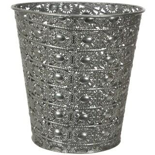 Handmade Silvertone Wrought Iron Waste Basket (China)