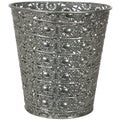Handmade Silvertone Wrought Iron Waste Basket (China)