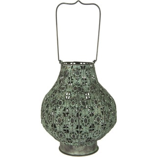 Handmade Green Fluted Wrought Iron Lantern (China)