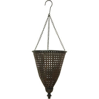 Handmade Brown Rust Patina Outdoor Hanging Lantern (China)