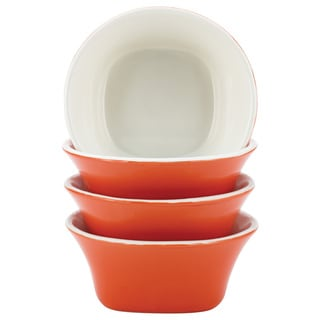 Rachael Ray Dinnerware Round & Square 4-piece Orange Stoneware Fruit Bowl Set