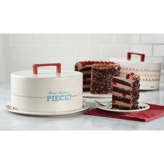 Cake Boss Serveware 'Want Another Piece?' Cream Metal Cake Carrier