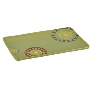 Rachael Ray Stoneware 12 3/4 x 8 1/4-inch Green Circles and Dots Rectangular Serving Platter