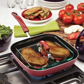 Rachael Ray Porcelain II Aluminum Non-stick 11-Inch Square Deep Griddle and Glass Press