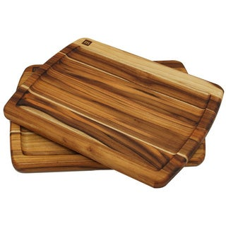 Madeira Provo Edge-grain Teak Brazilian Steak Boards (Set of 2)