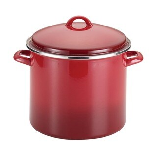 Rachael Ray Enamel on Steel 12-quart Red Gradient Covered Stockpot