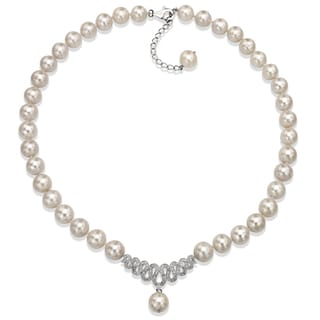 DaVonna Sterling Silver White Freshwater Pearl 18-inch Necklace (10-11 mm)