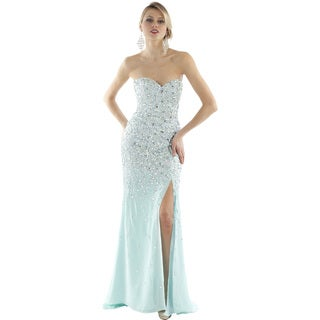Daniella Women's Light Aqua Rhinestone-encrusted Strapless Gown