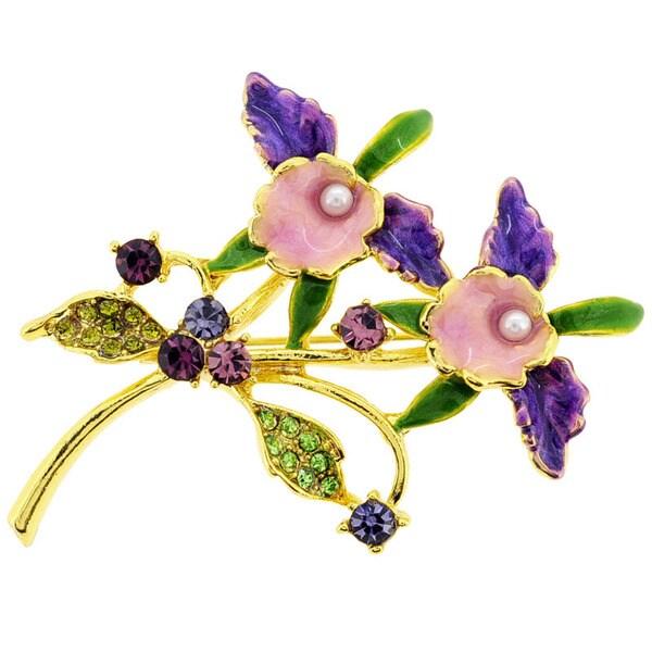 Purple Orchid Multi-color Crystal Flower Pin Brooch