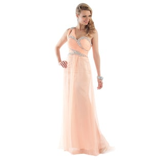 Daniella Women's Soft Peach Rhinestone Trim One-shoulder Gown