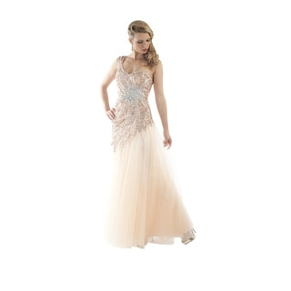 Daniella Couture Women's Peach Rhinestone Bodice 1-shoulder Gown