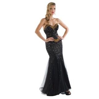 Daniella Women's Black/ Gold Stone-beaded Strapless Gown