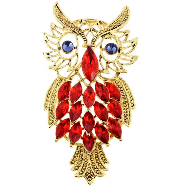 Light Siam Base Metal Crystal Owl Pin Brooch