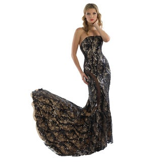 Daniella Women's Black/ Nude Sequined Lace Gown with Train