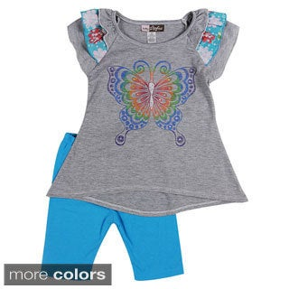 Girls Colorful Butterfly Print 2-piece Top and Leggings Set