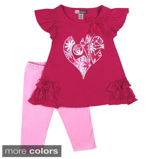 Girls Puzzle Heart Print 2-piece Top and Leggings Set