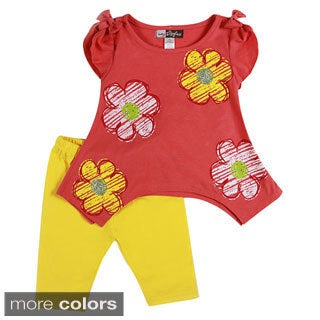 Girls Drawn Floral Print 2-piece Sharkbite Top and Leggings Set
