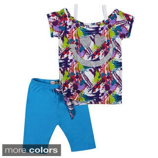 Girls Glittery Smile Print Mult-colored 2-piece Top and Leggings Set