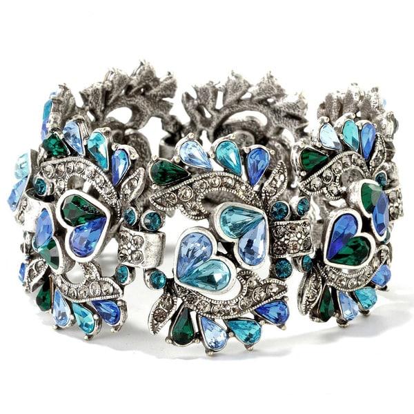 Sweet Romance Crystal Pears 1940s Bracelet