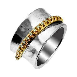 Sonia Bitton Sterling Silver 14k Gold Diamond Band Ring (H-I, SI1-SI2)