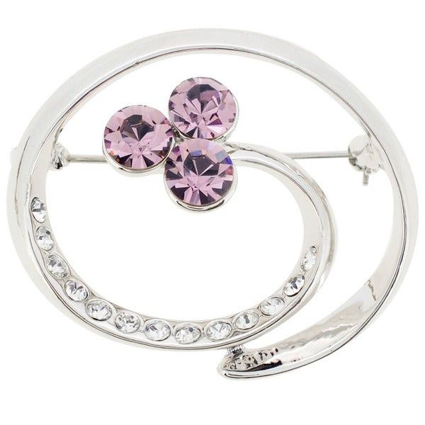 Base Metal Purple Crystal Swirl Pin Brooch