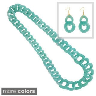 NEXTE Jewelry Acrylic Bright Color Long Cuban Link Chains with Bonus Earrings