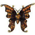 Brown Gemstone and Black Enamel Butterfly Pin Brooch