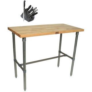John Boos CUCNB02-40 Cucina Americana Classico 18x12 inch Table and Henckels 13 Piece Knife Block Set