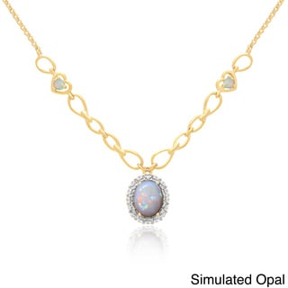 Dolce Giavonna 14k Gold Overlay Simulated Gem Necklace