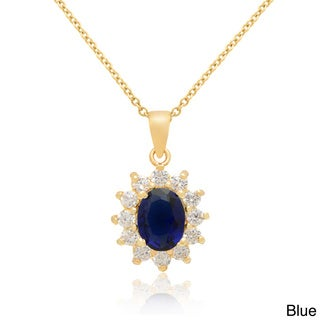 Dolce Giavonna 14k Gold Overlay Blue and Green Glass Pendant Necklace