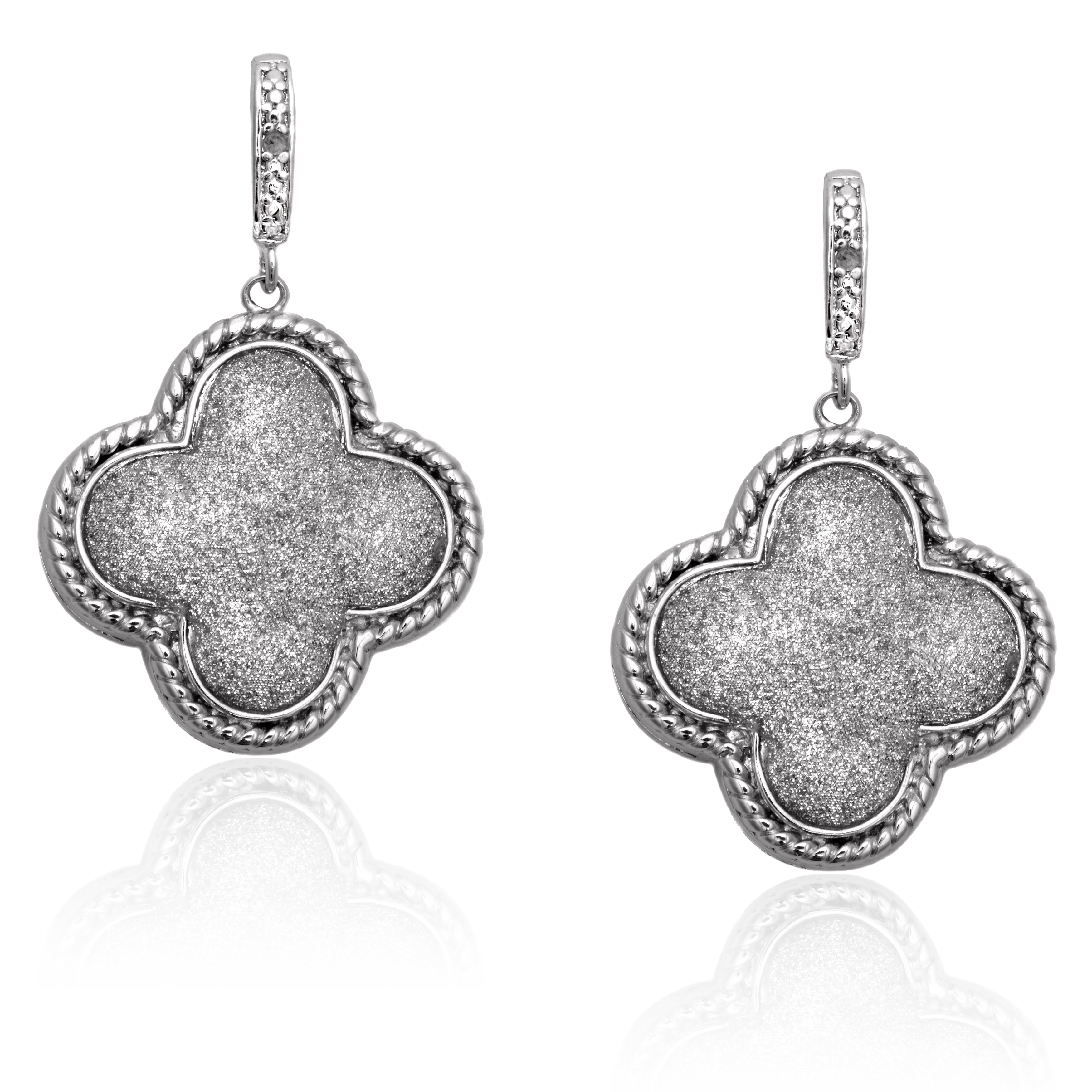 Finesque Diamond Accent Cable Clover Dangle Earrings