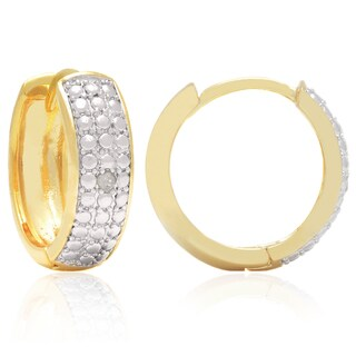 Finesqe 14k Gold Overlay or Silverplated Diamond Accent Hoop Earrings