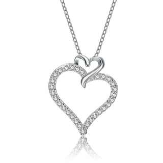 Collette Sterling Silver Cubic Zirconia Double Heart Necklace