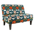 angelo:HOME Dover Orange and Turquoise Blue Meadow Flowers Settee